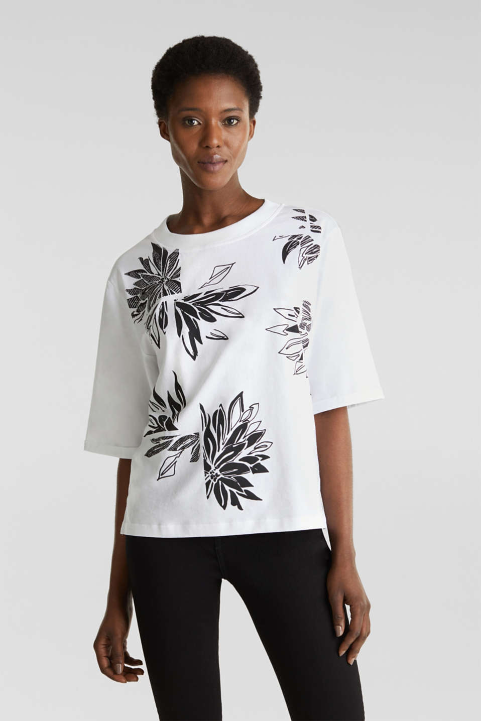 Esprit - Top with a floral print, 100% organic cotton