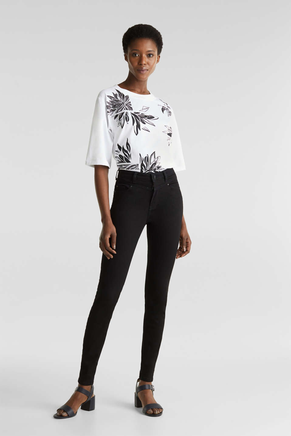 Top with a floral print, 100% organic cotton, WHITE, detail image number 6