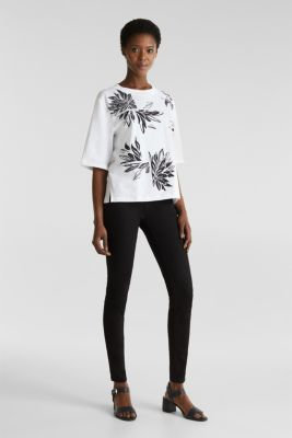 Top with a floral print, 100% organic cotton, WHITE, detail