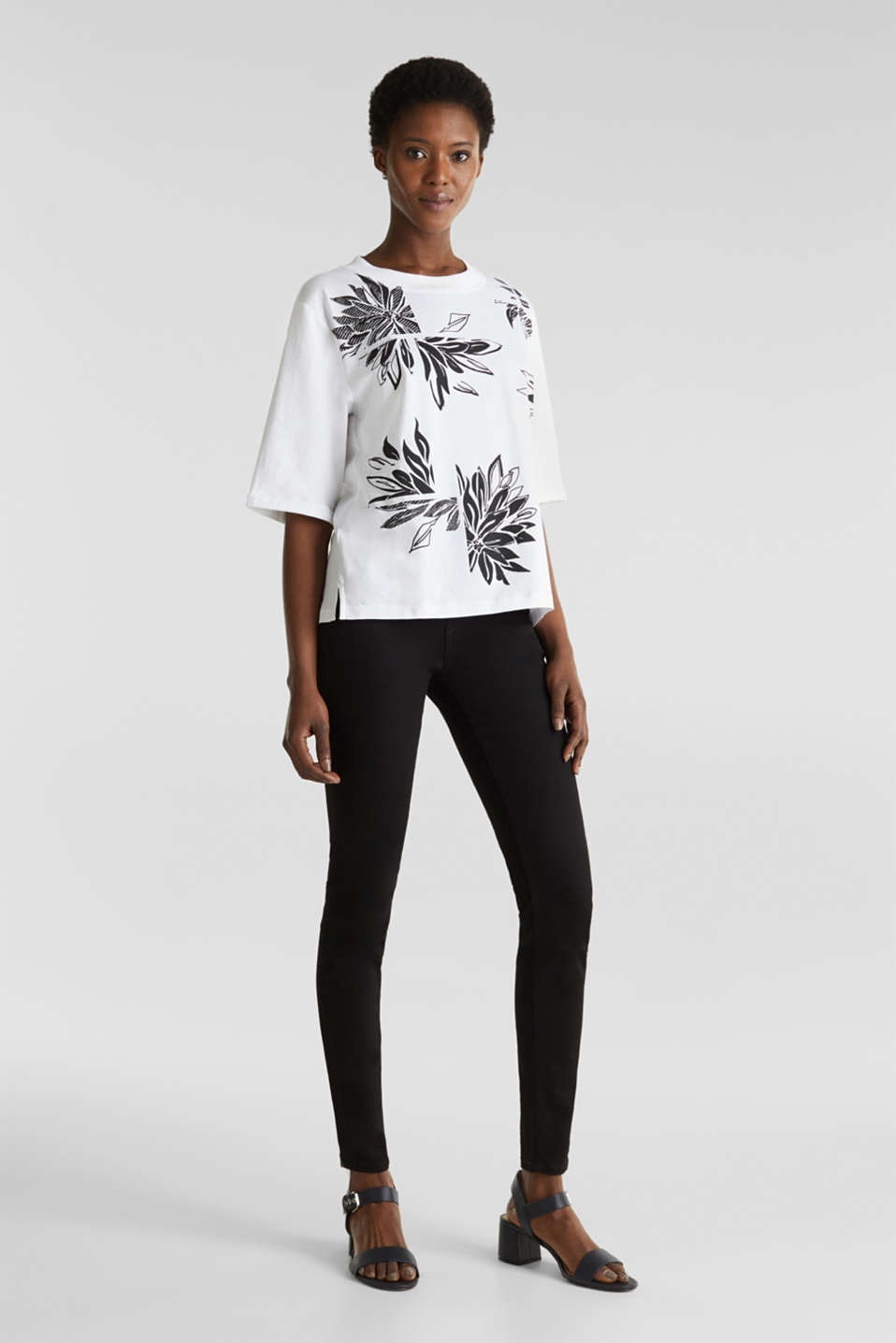 Top with a floral print, 100% organic cotton, WHITE, detail image number 1