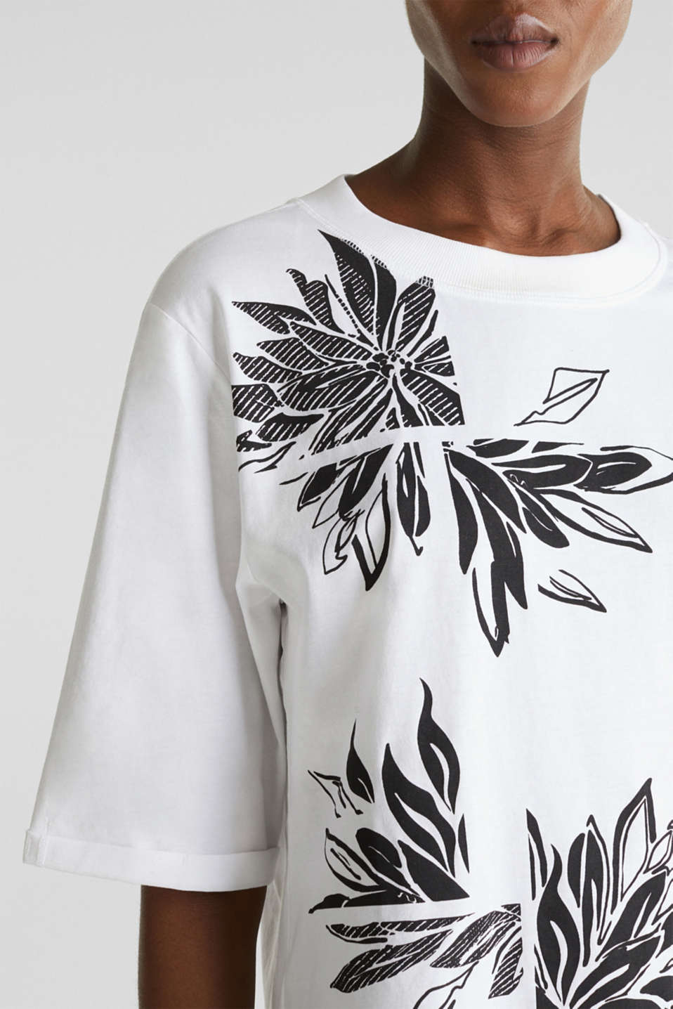 Top with a floral print, 100% organic cotton, WHITE, detail image number 2