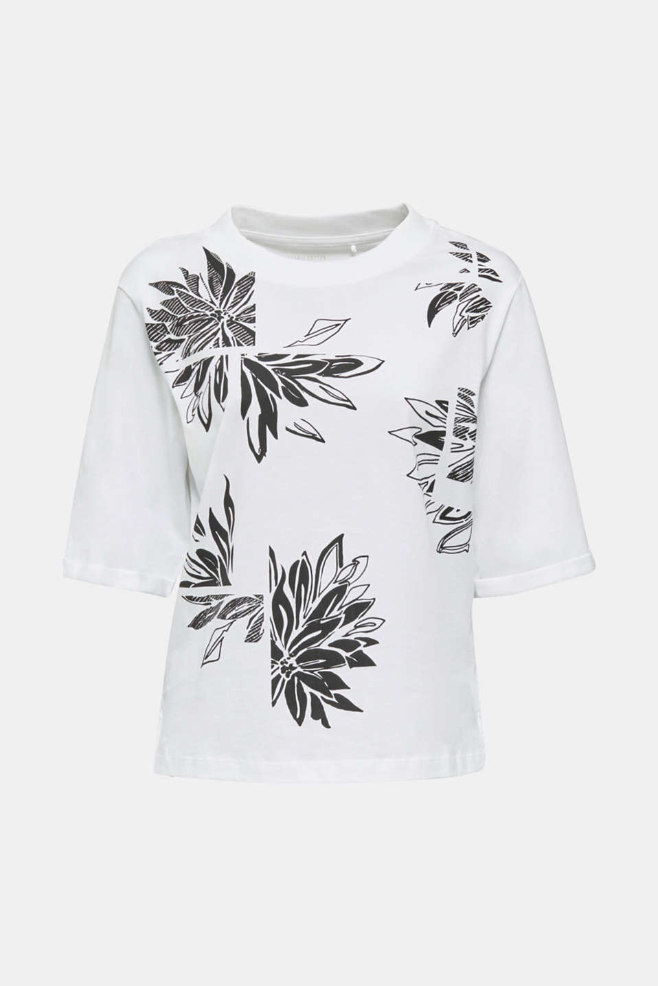 Top with a floral print, 100% organic cotton, WHITE, detail image number 7