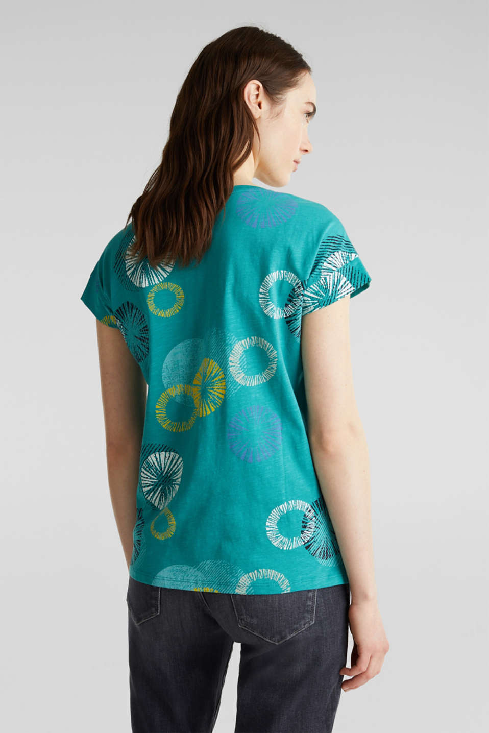 Printed T-shirt in 100% organic cotton, TEAL GREEN, detail image number 3