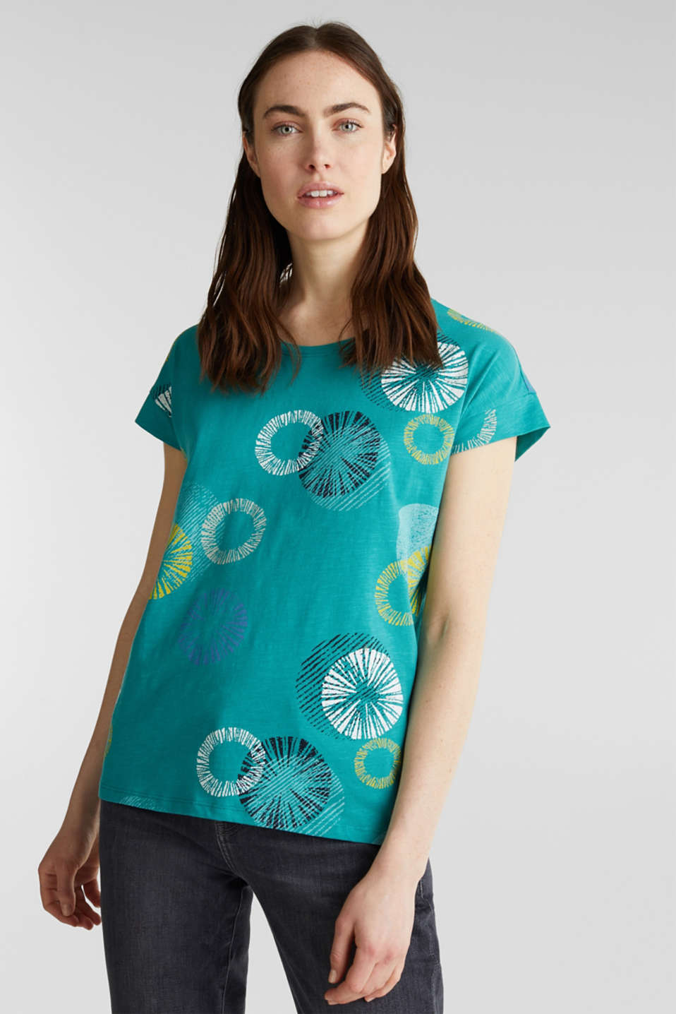 Printed T-shirt in 100% organic cotton, TEAL GREEN, detail image number 6