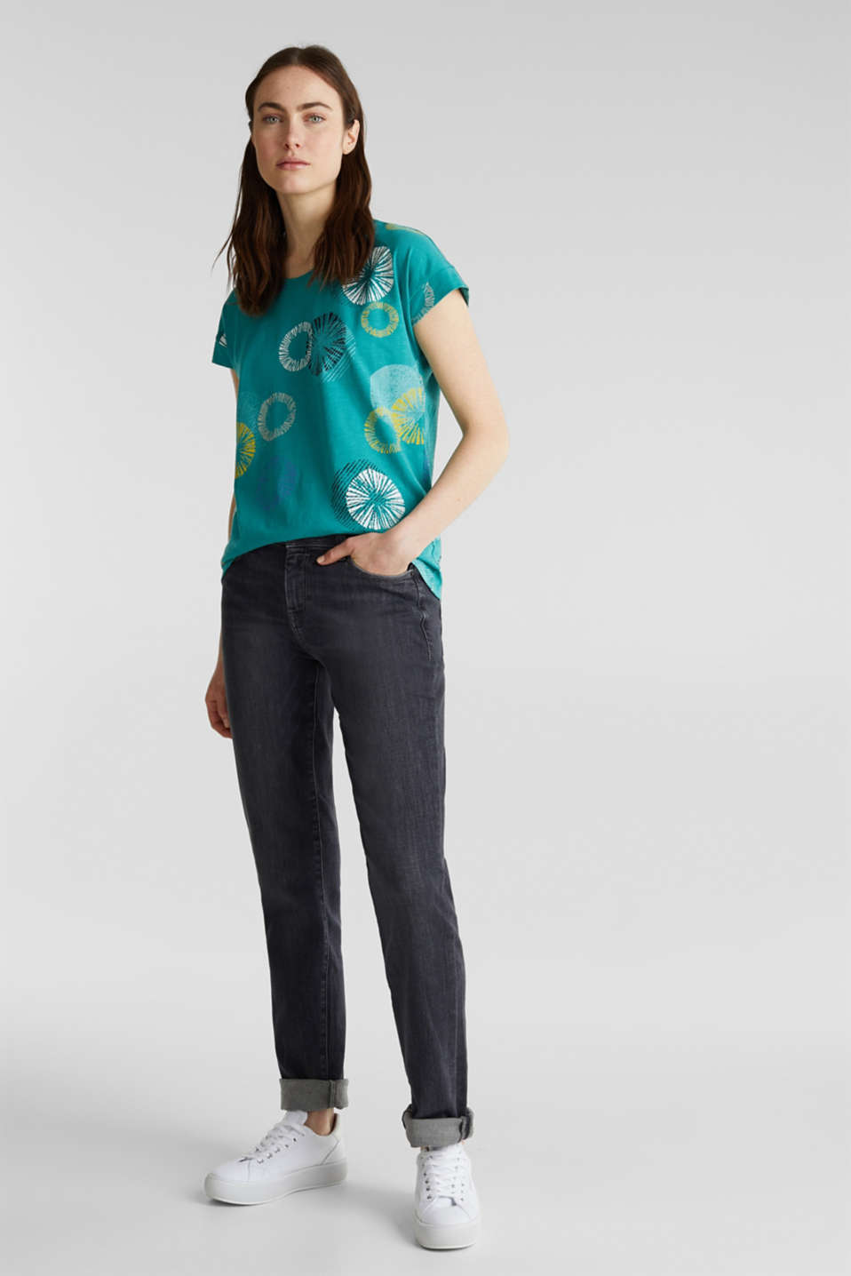 Printed T-shirt in 100% organic cotton, TEAL GREEN, detail image number 1