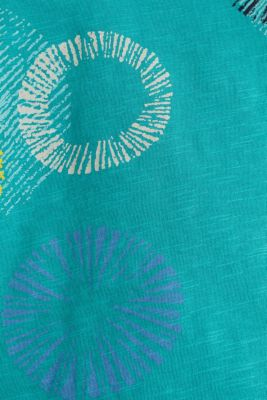 Printed T-shirt in 100% organic cotton, TEAL GREEN, detail