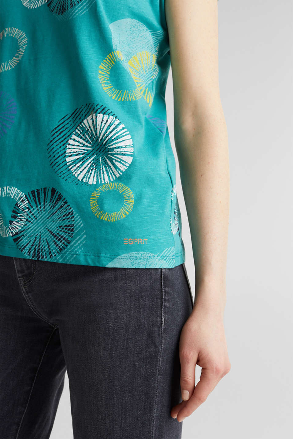 Printed T-shirt in 100% organic cotton, TEAL GREEN, detail image number 5