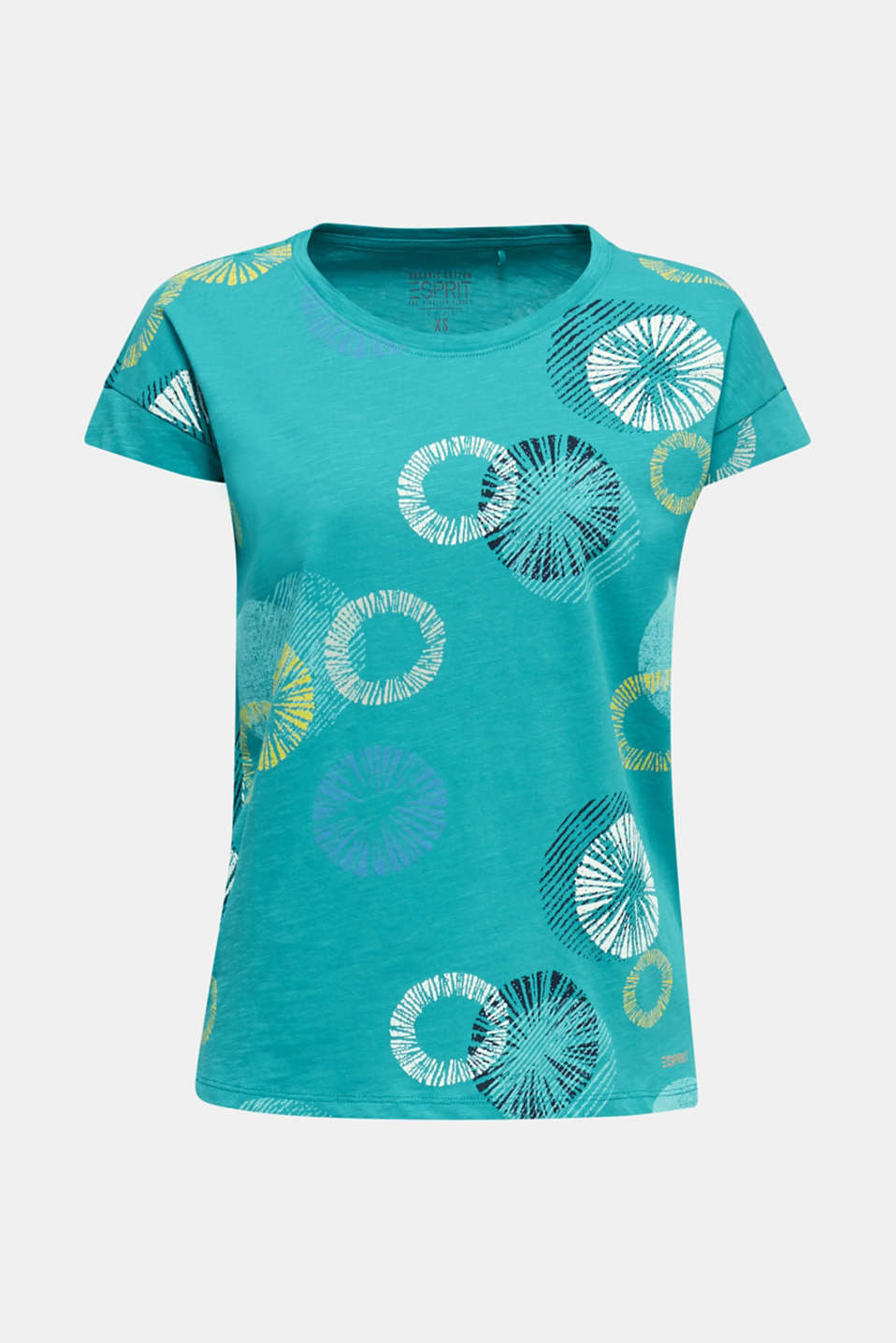 Printed T-shirt in 100% organic cotton, TEAL GREEN, detail image number 7