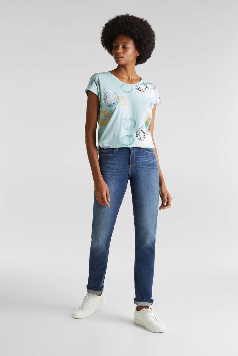 Printed T-shirt in 100% organic cotton, LIGHT AQUA GREEN, detail image number 1