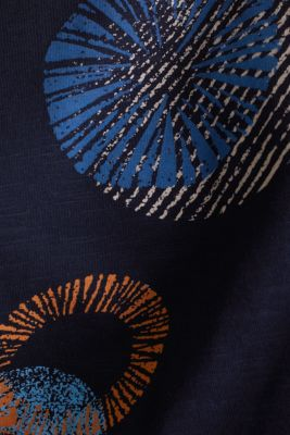 Printed T-shirt in 100% organic cotton, NAVY, detail