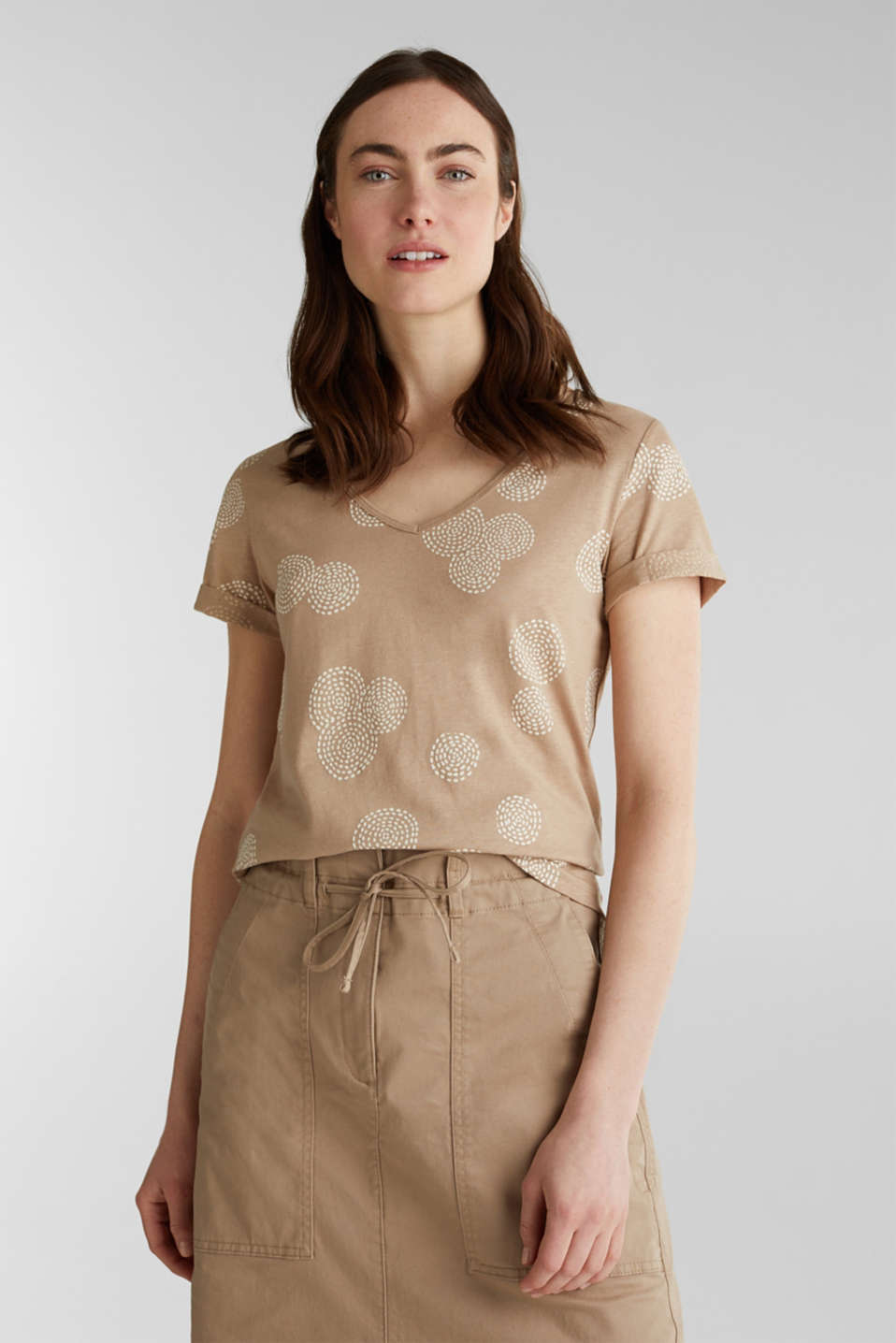 Blended linen: T-shirt with rubber-coated all-over print, BEIGE, detail image number 0