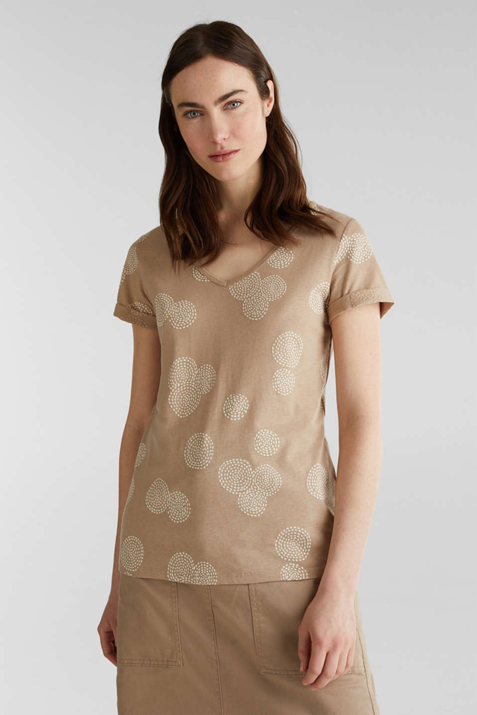 Blended linen: T-shirt with rubber-coated all-over print, BEIGE, detail image number 5