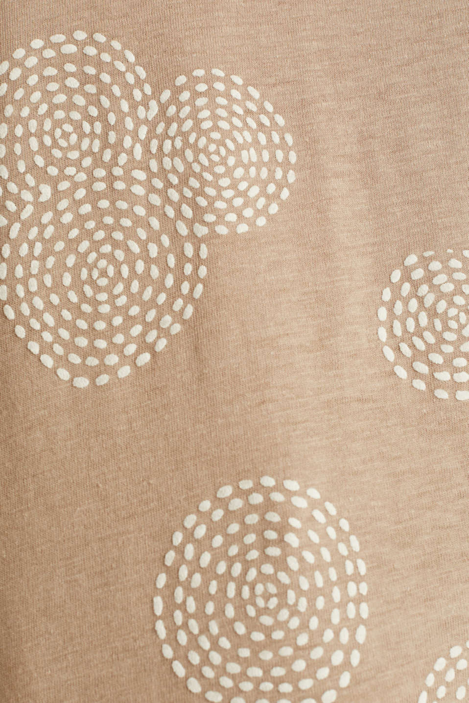 Blended linen: T-shirt with rubber-coated all-over print, BEIGE, detail image number 4