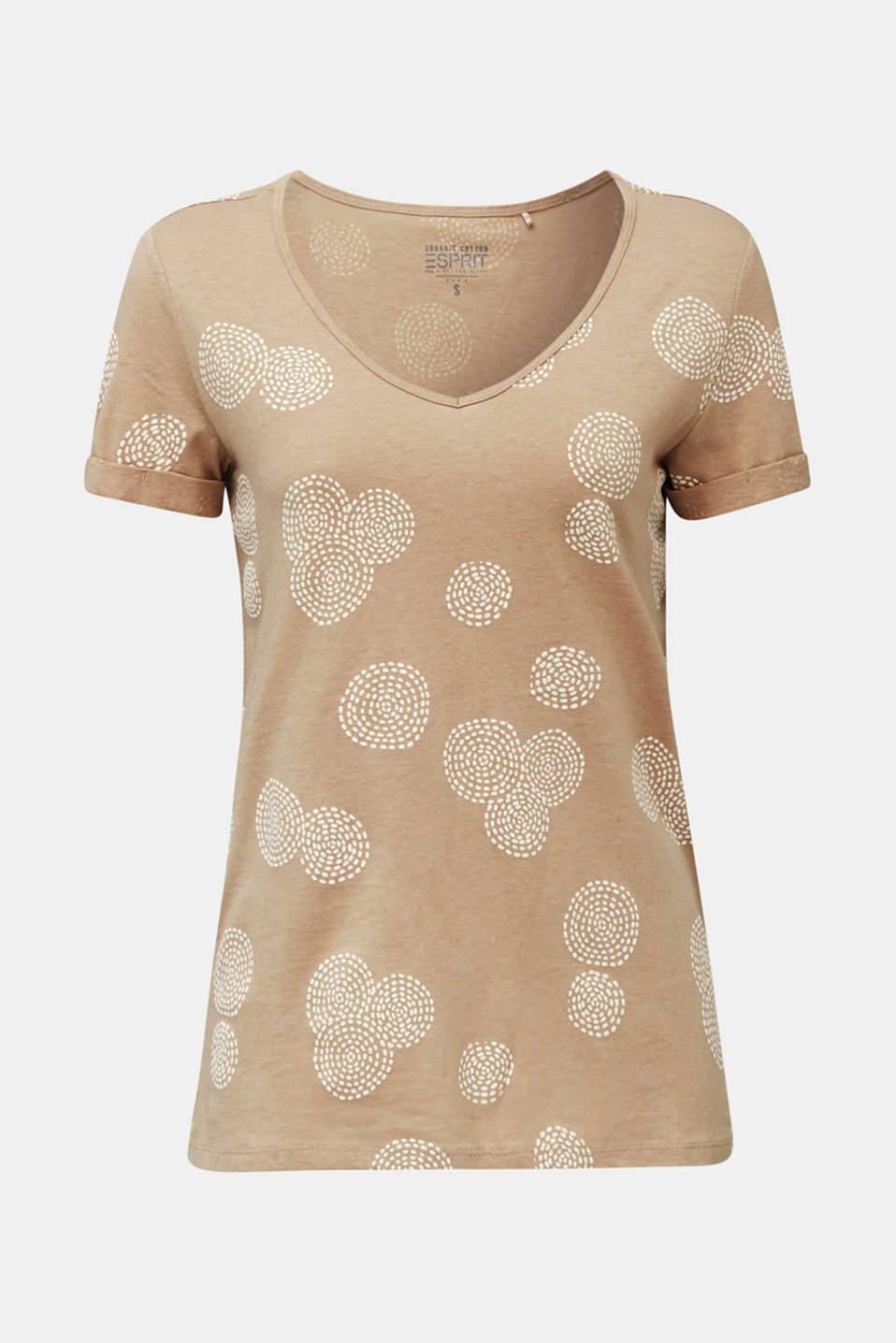 Blended linen: T-shirt with rubber-coated all-over print, BEIGE, detail image number 6