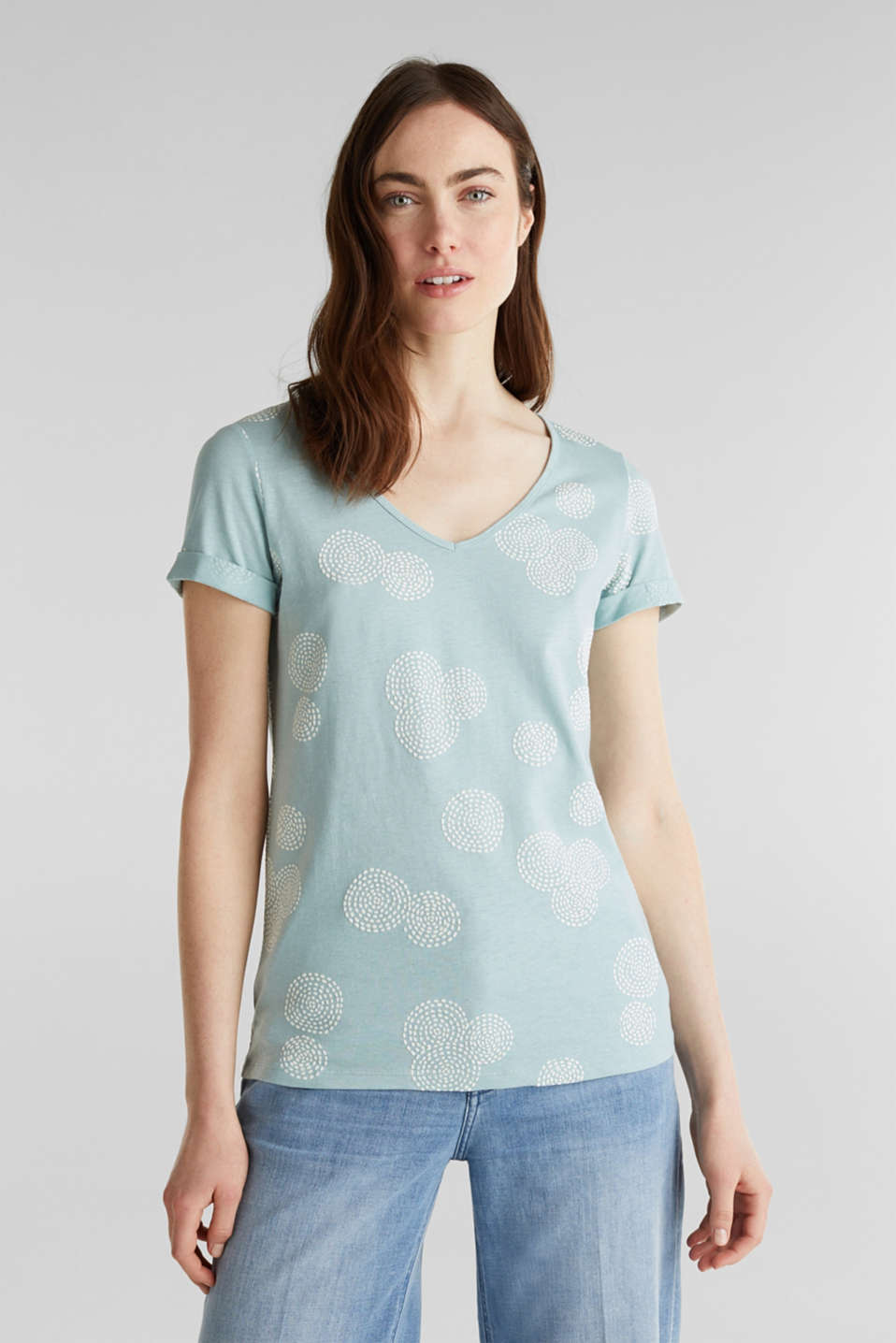 Esprit - Blended linen: T-shirt with rubber-coated all-over print