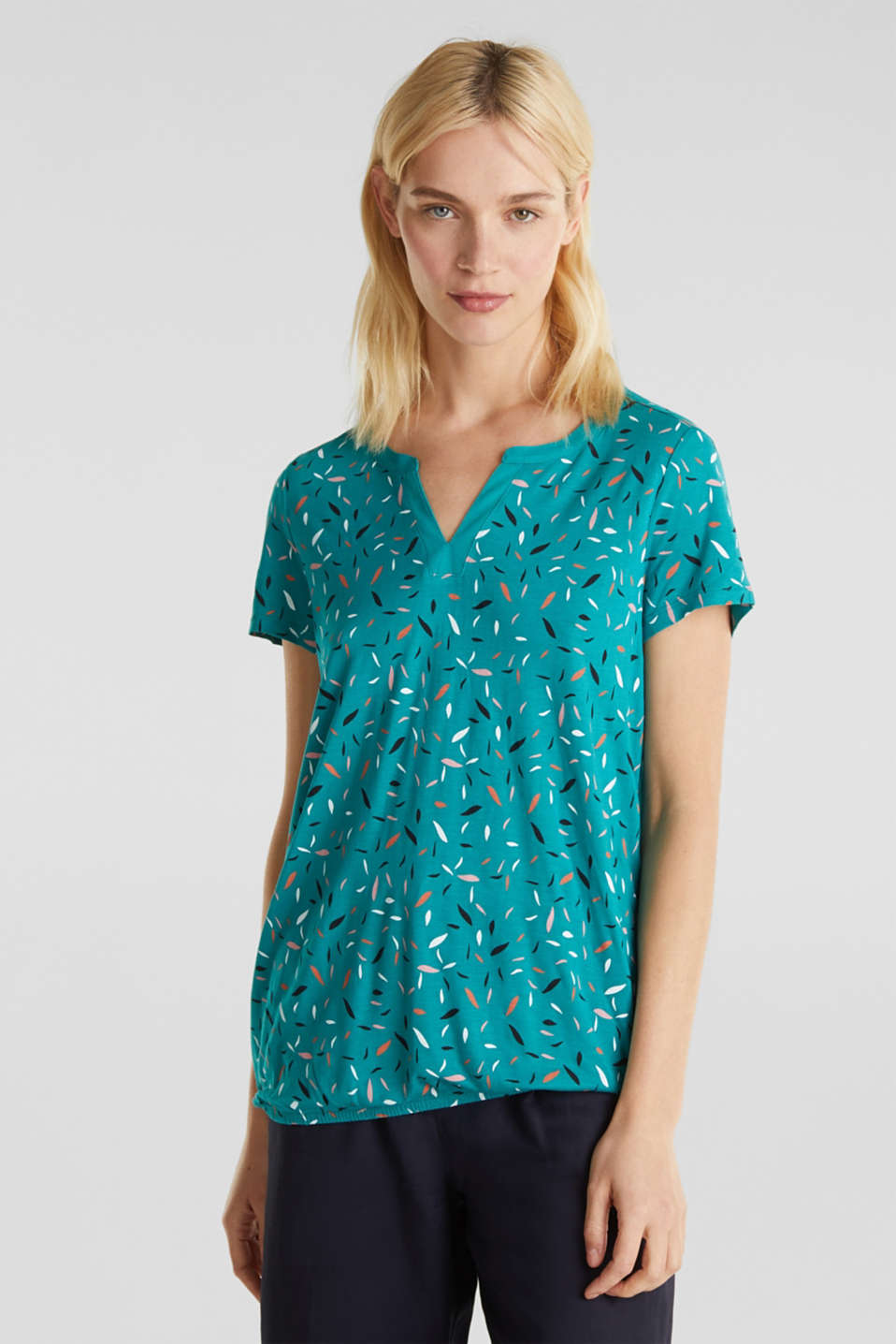 Esprit - Henley top with fabric trims