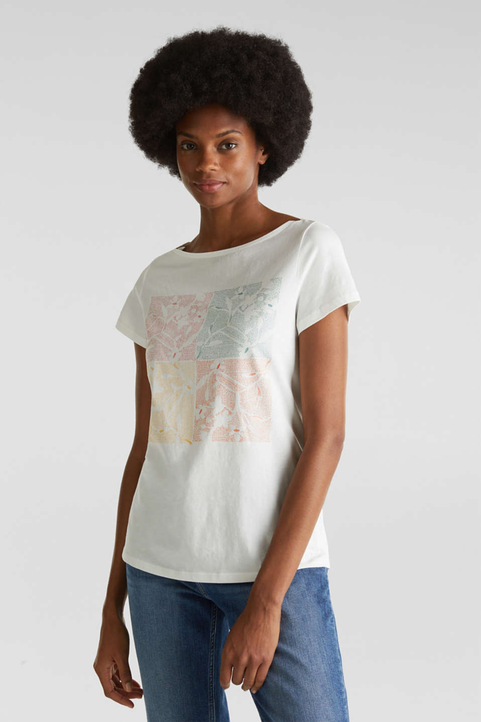 Top with a glitter print, 100% organic cotton, OFF WHITE, detail image number 0