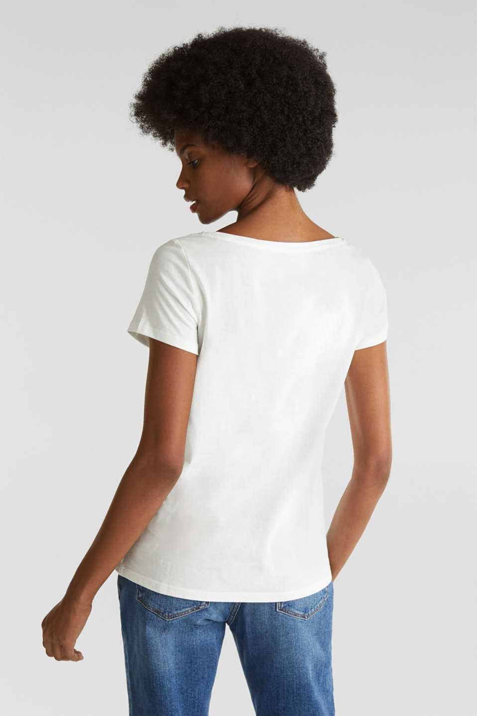 Top with a glitter print, 100% organic cotton, OFF WHITE, detail image number 3