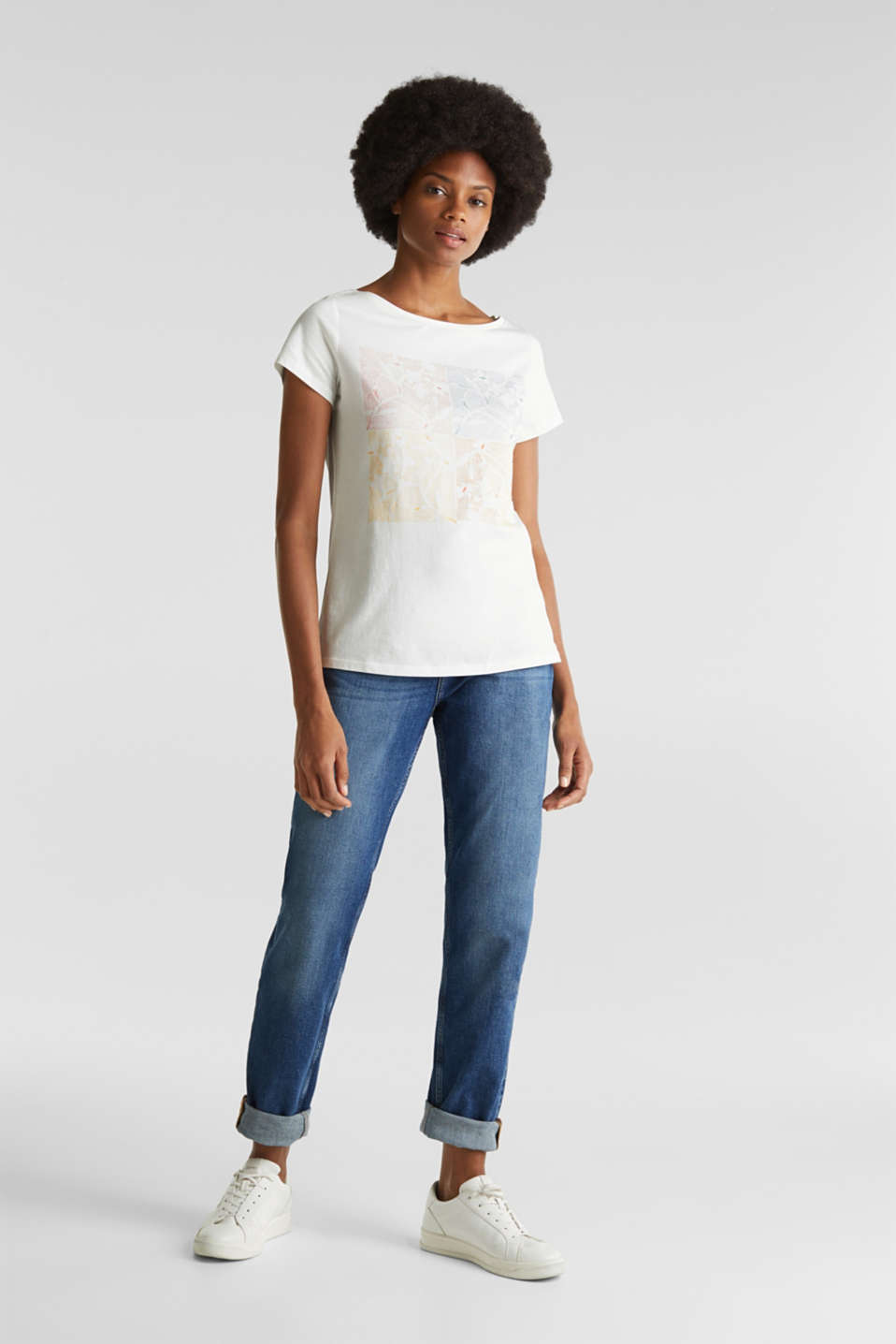 Top with a glitter print, 100% organic cotton, OFF WHITE, detail image number 1