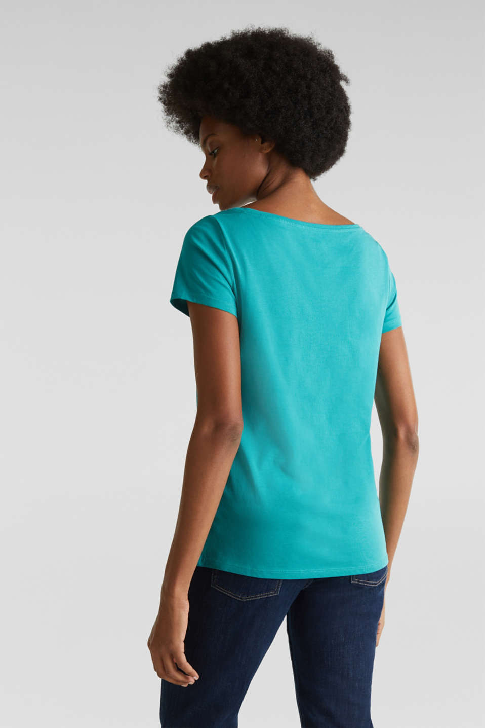 Top with a glitter print, 100% organic cotton, TEAL GREEN, detail image number 2