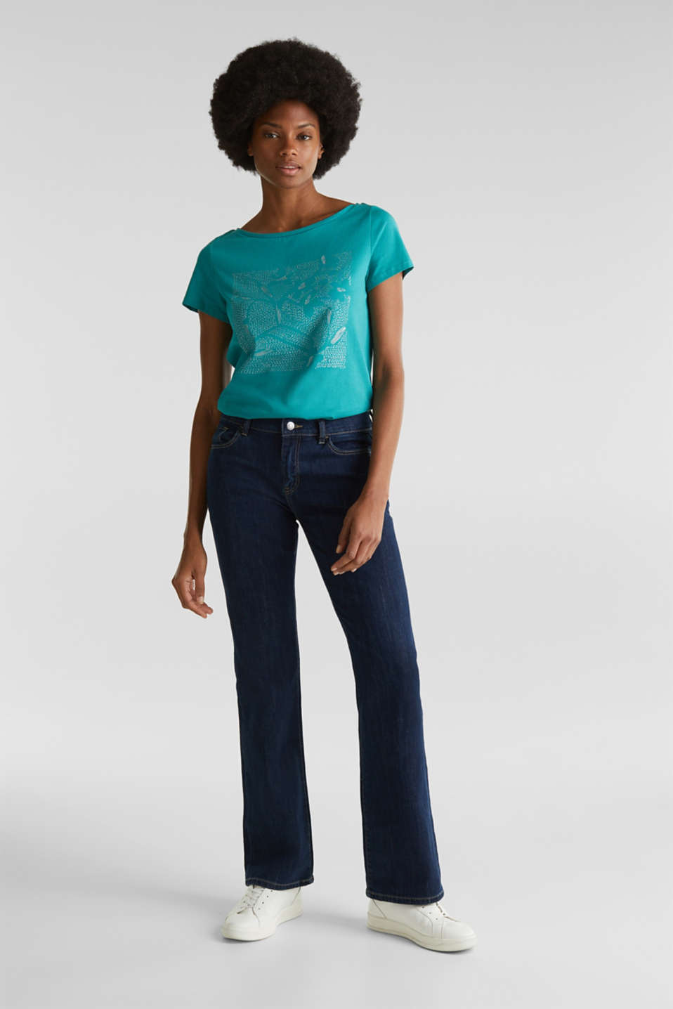 Top with a glitter print, 100% organic cotton, TEAL GREEN, detail image number 1