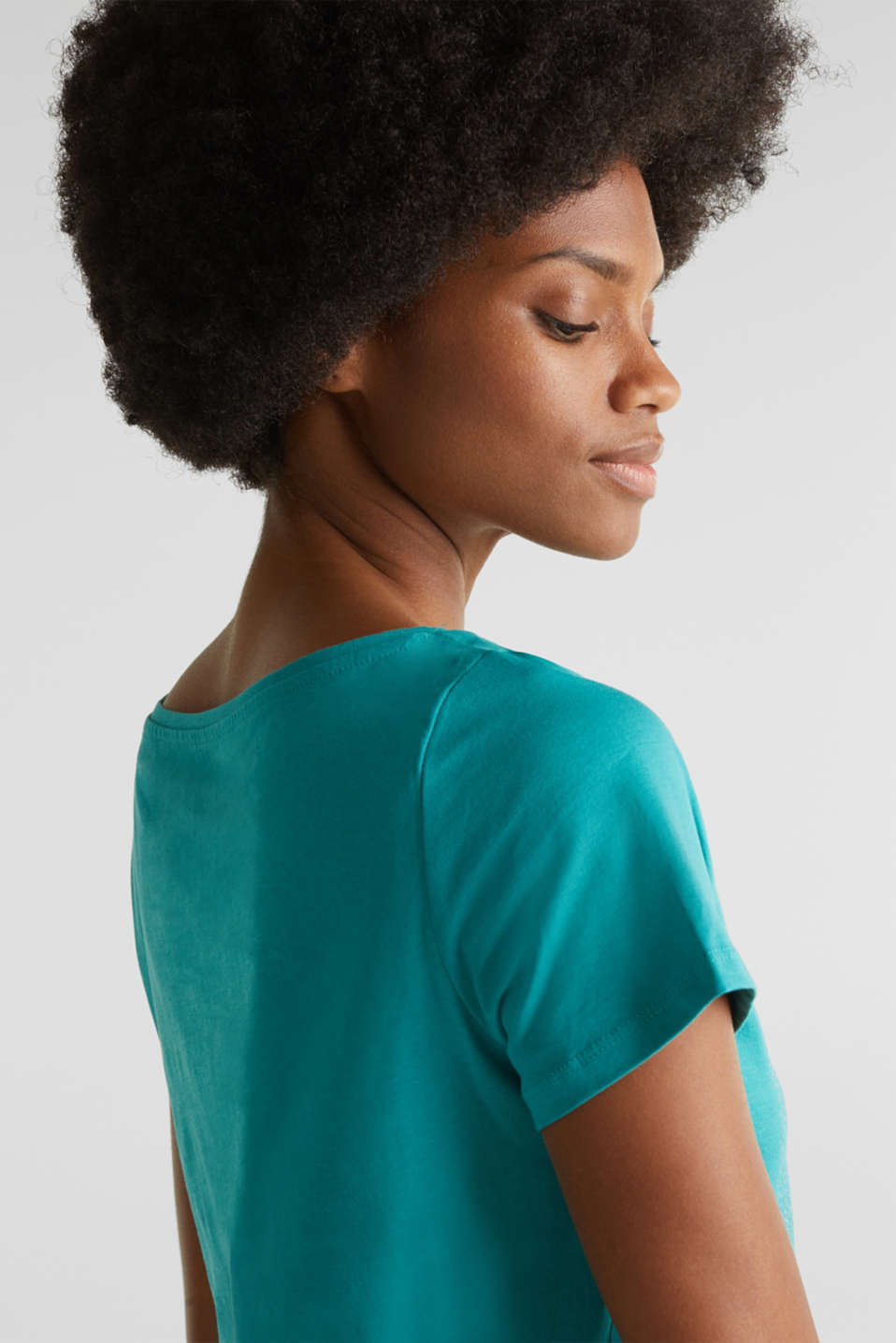 Top with a glitter print, 100% organic cotton, TEAL GREEN, detail image number 4