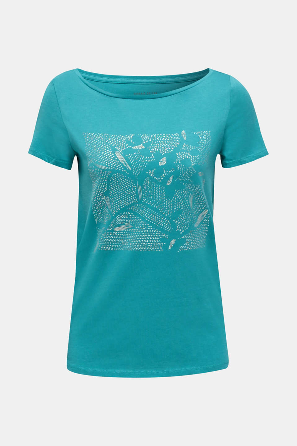 Top with a glitter print, 100% organic cotton, TEAL GREEN, detail image number 6