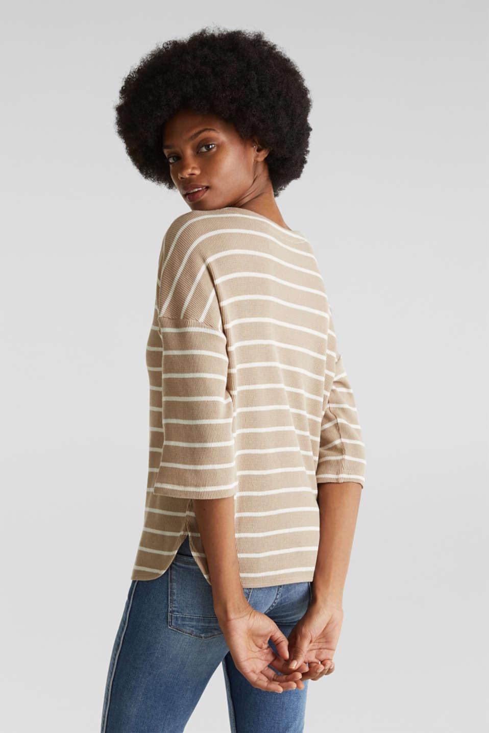 Piqué T-shirt with a casual cut, 100% cotton, BEIGE, detail image number 3