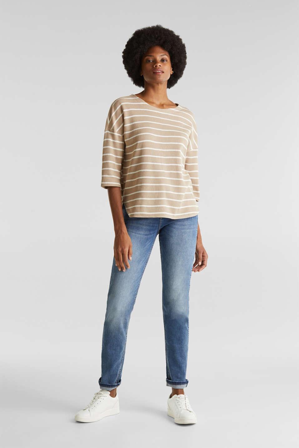 Piqué T-shirt with a casual cut, 100% cotton, BEIGE, detail image number 1