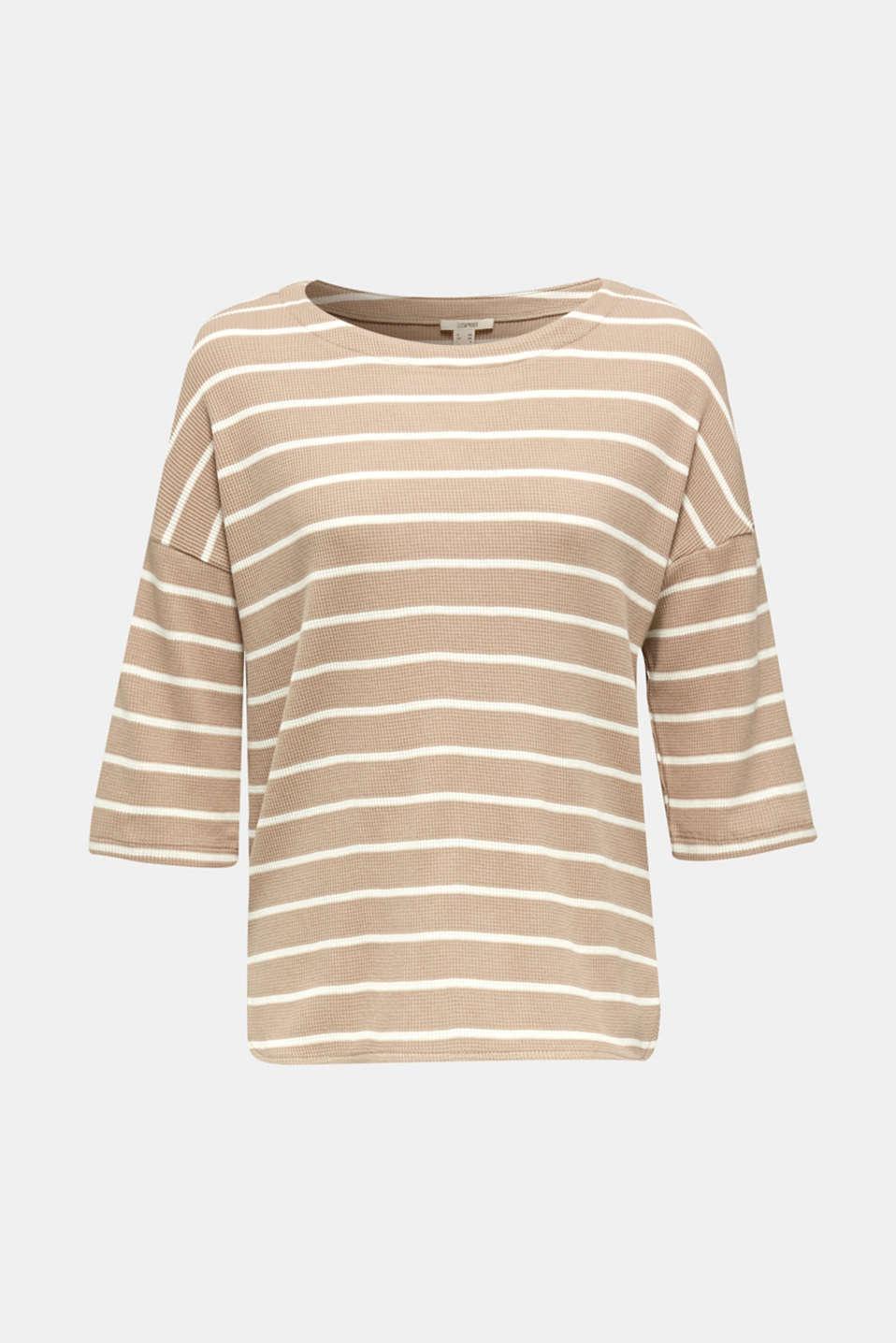 Piqué T-shirt with a casual cut, 100% cotton, BEIGE, detail image number 7