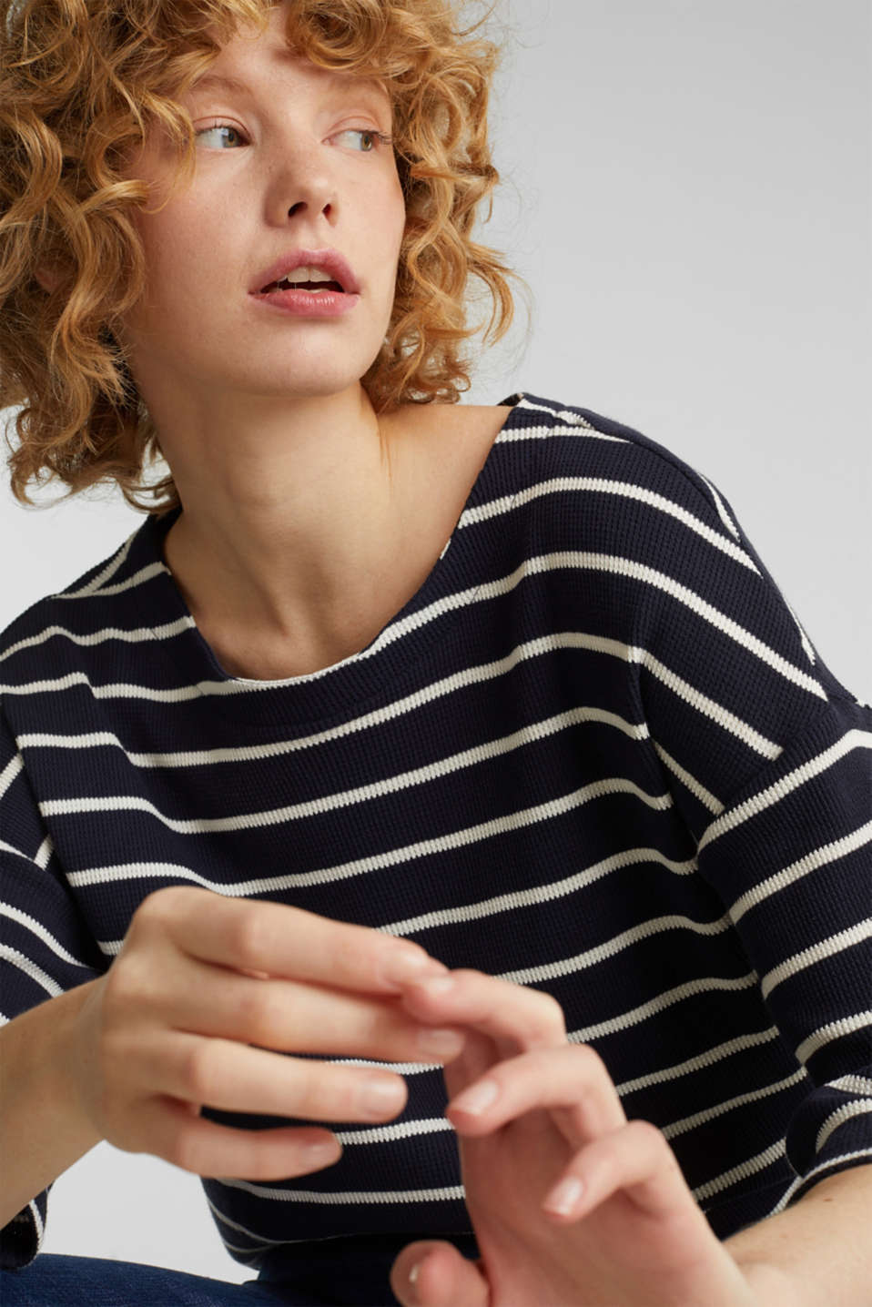 Piqué T-shirt in 100% cotton, NAVY, detail image number 5