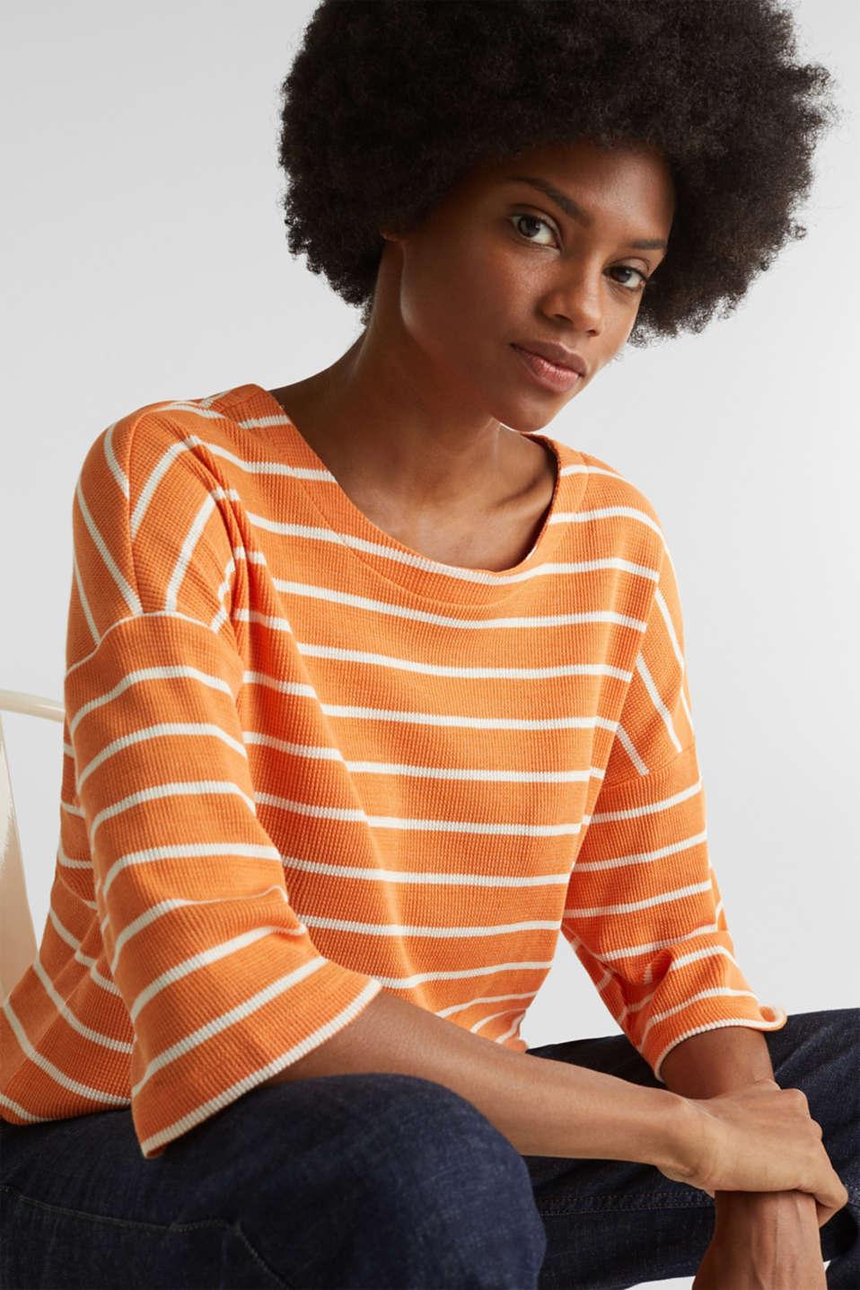 Piqué T-shirt in 100% cotton, RUST ORANGE, detail image number 7