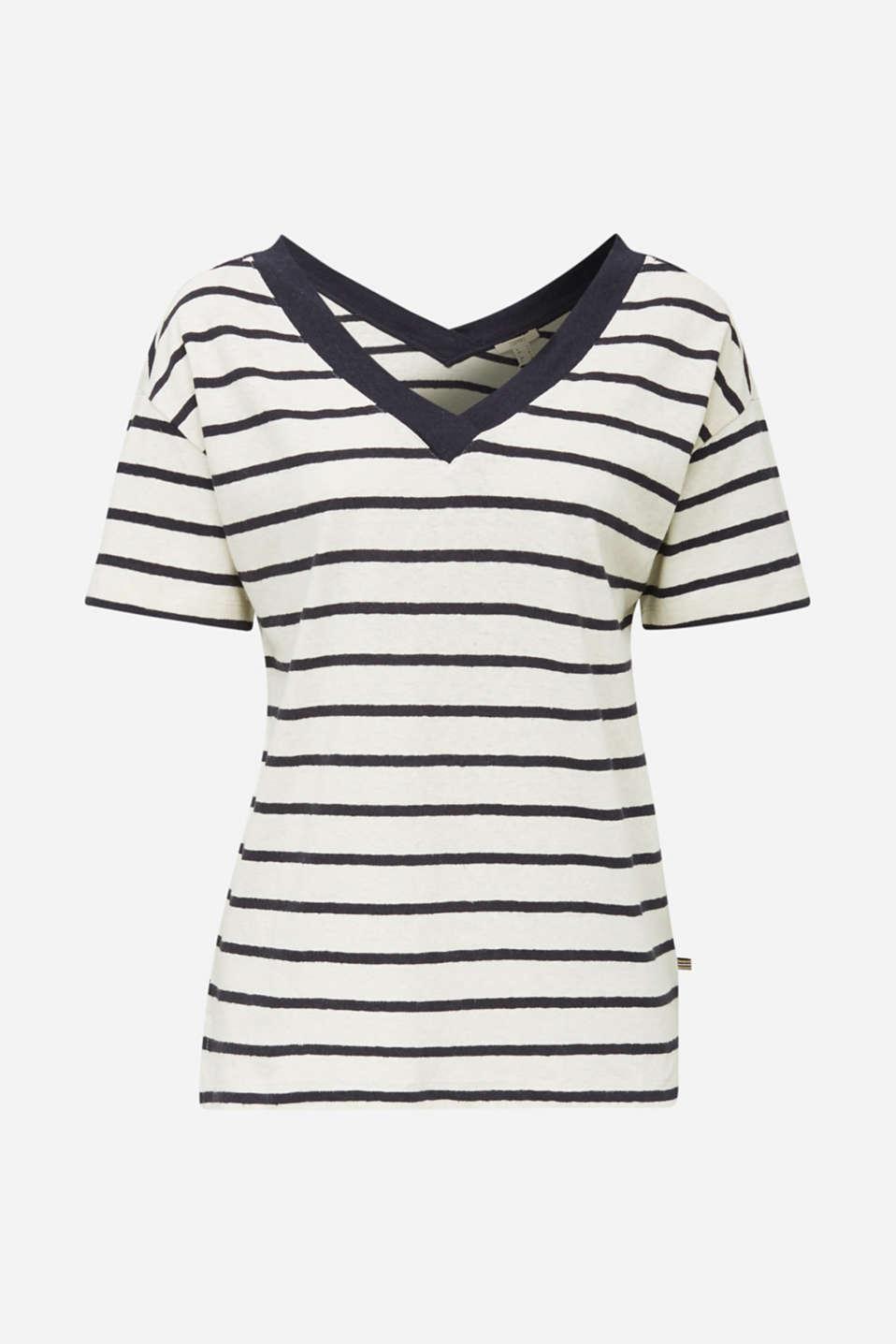 Made of blended linen: Top with v-necklines, ICE 4, detail image number 7