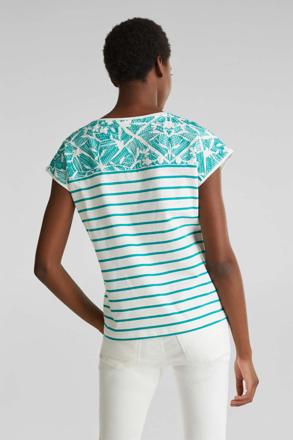 Striped T-shirt with embroidery, 100% organic cotton, TEAL GREEN, detail image number 3