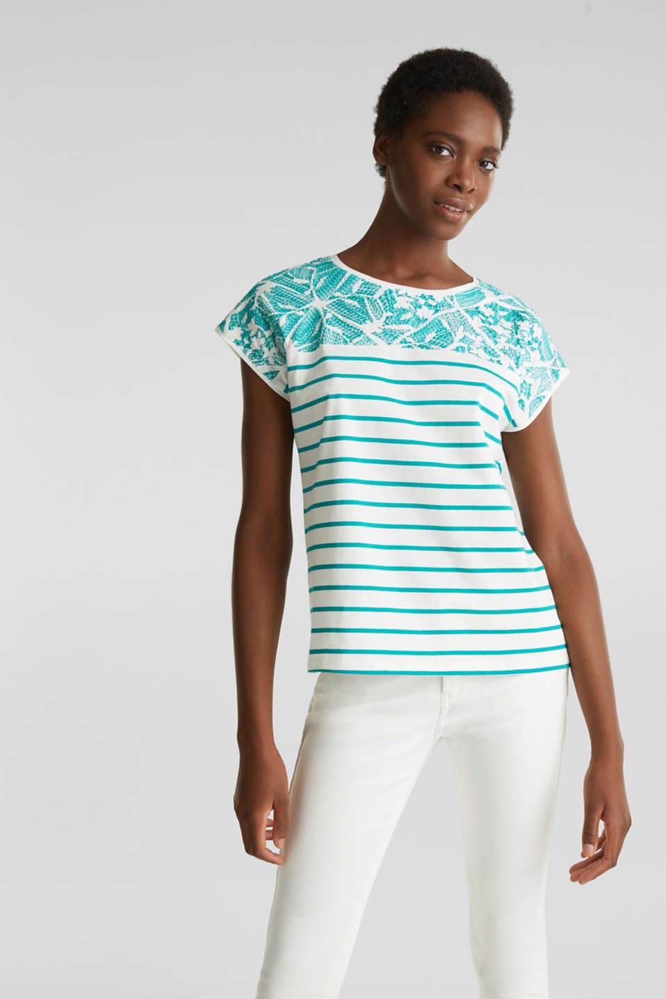 Striped T-shirt with embroidery, 100% organic cotton, TEAL GREEN, detail image number 5