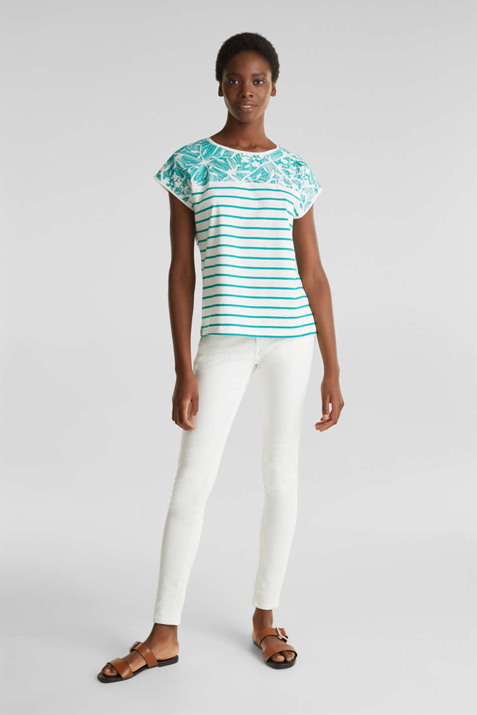 Striped T-shirt with embroidery, 100% organic cotton, TEAL GREEN, detail image number 1