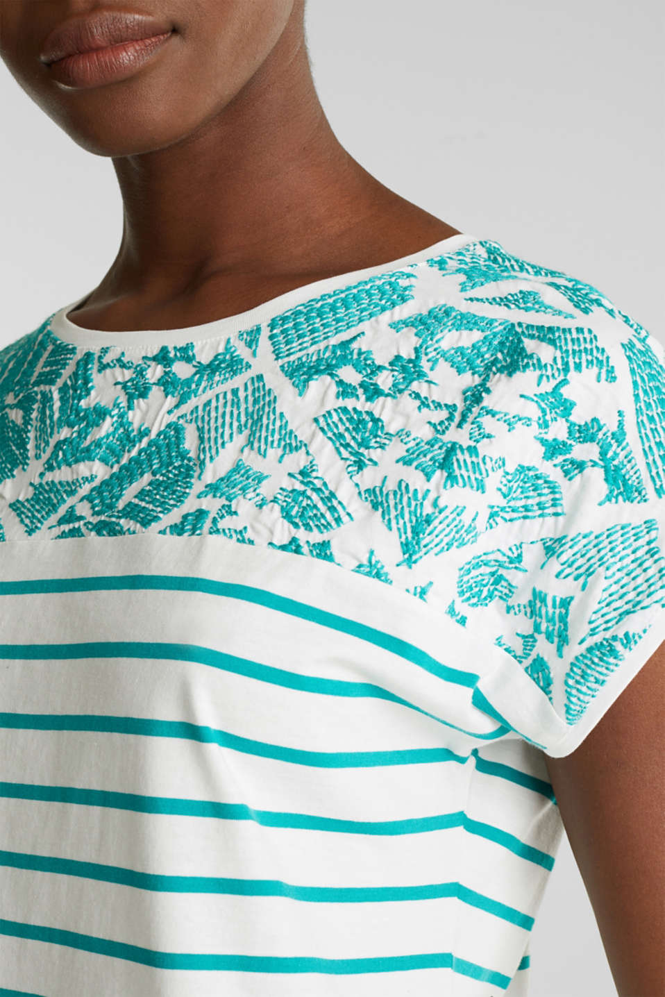 Striped T-shirt with embroidery, 100% organic cotton, TEAL GREEN, detail image number 2