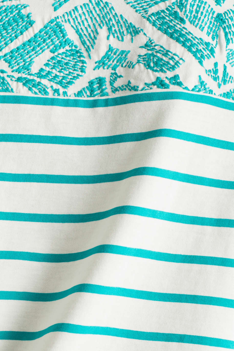 Striped T-shirt with embroidery, 100% organic cotton, TEAL GREEN, detail image number 4