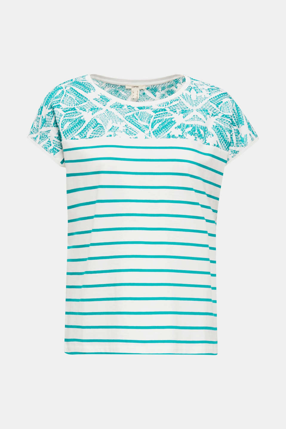 Striped T-shirt with embroidery, 100% organic cotton, TEAL GREEN, detail image number 7