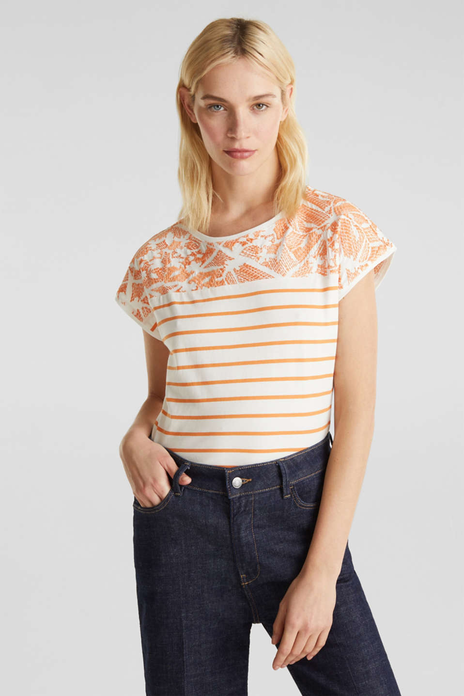 Embroidered top, organic cotton, RUST ORANGE, detail image number 0