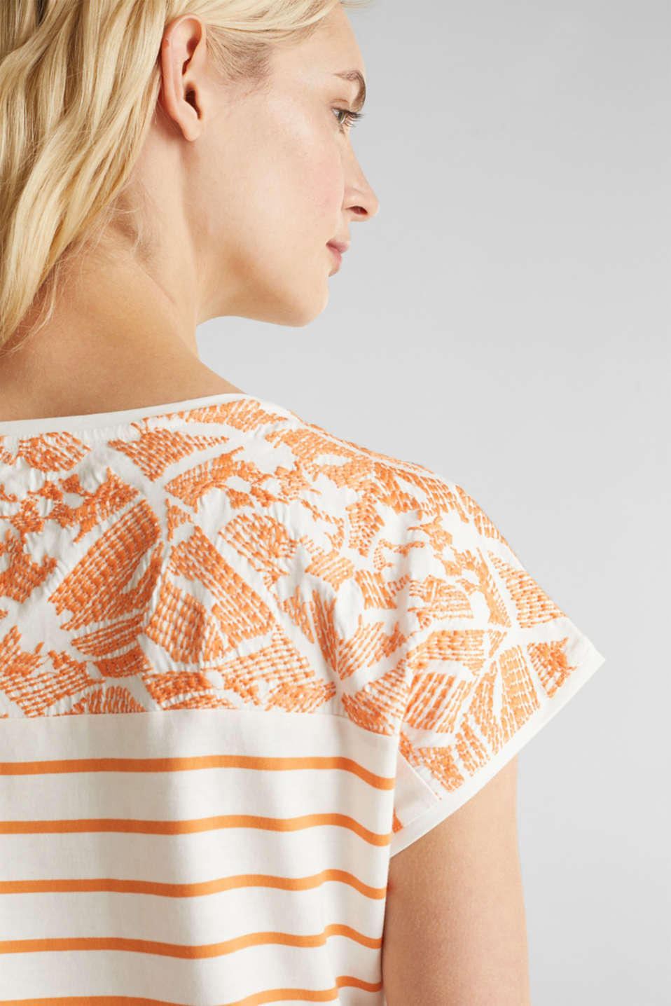 Embroidered top, organic cotton, RUST ORANGE, detail image number 2