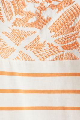 Embroidered top, organic cotton, RUST ORANGE, detail