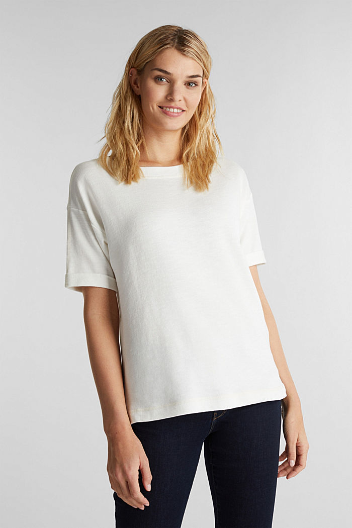 Textured top in blended cotton, OFF WHITE, detail image number 0