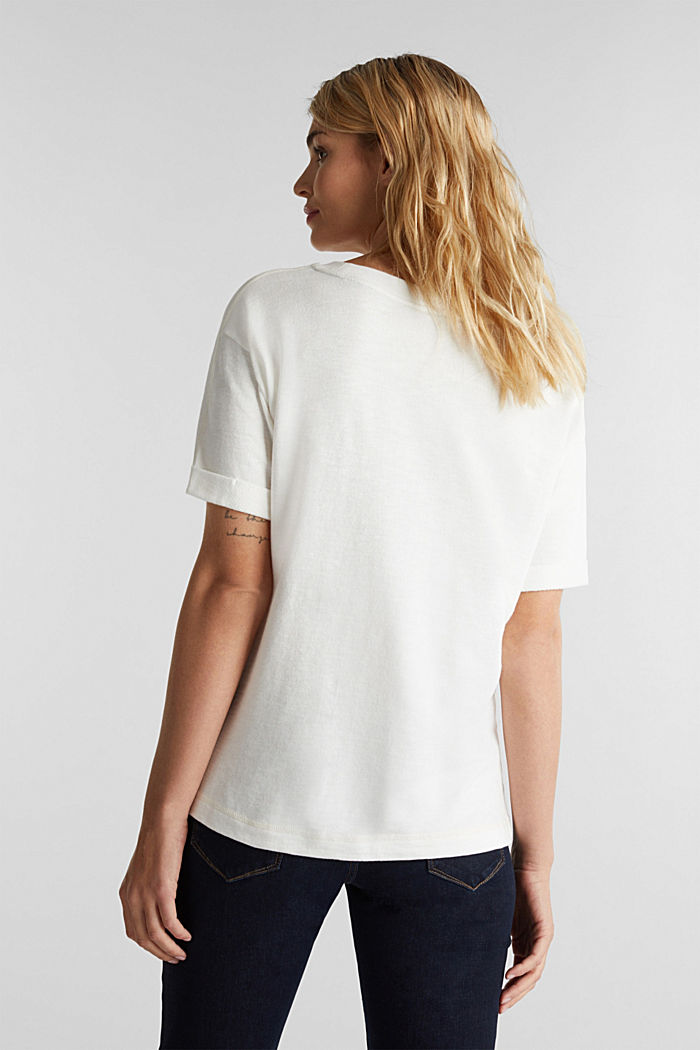 Textured top in blended cotton, OFF WHITE, detail image number 2