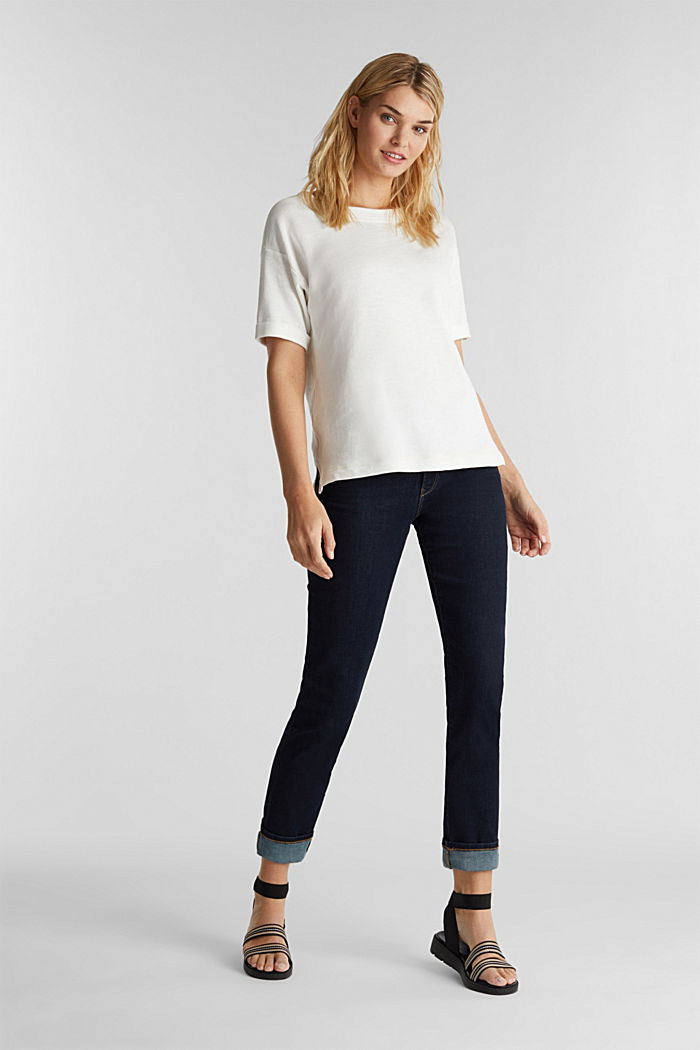 Textured top in blended cotton, OFF WHITE, detail image number 1