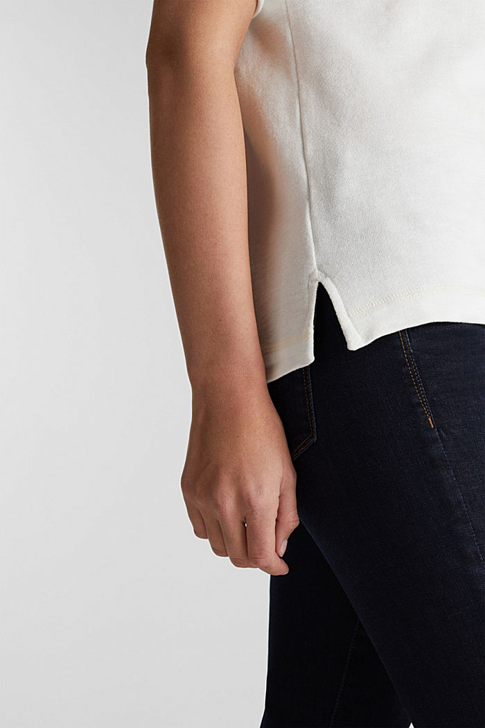 Textured top in blended cotton, OFF WHITE, detail image number 4