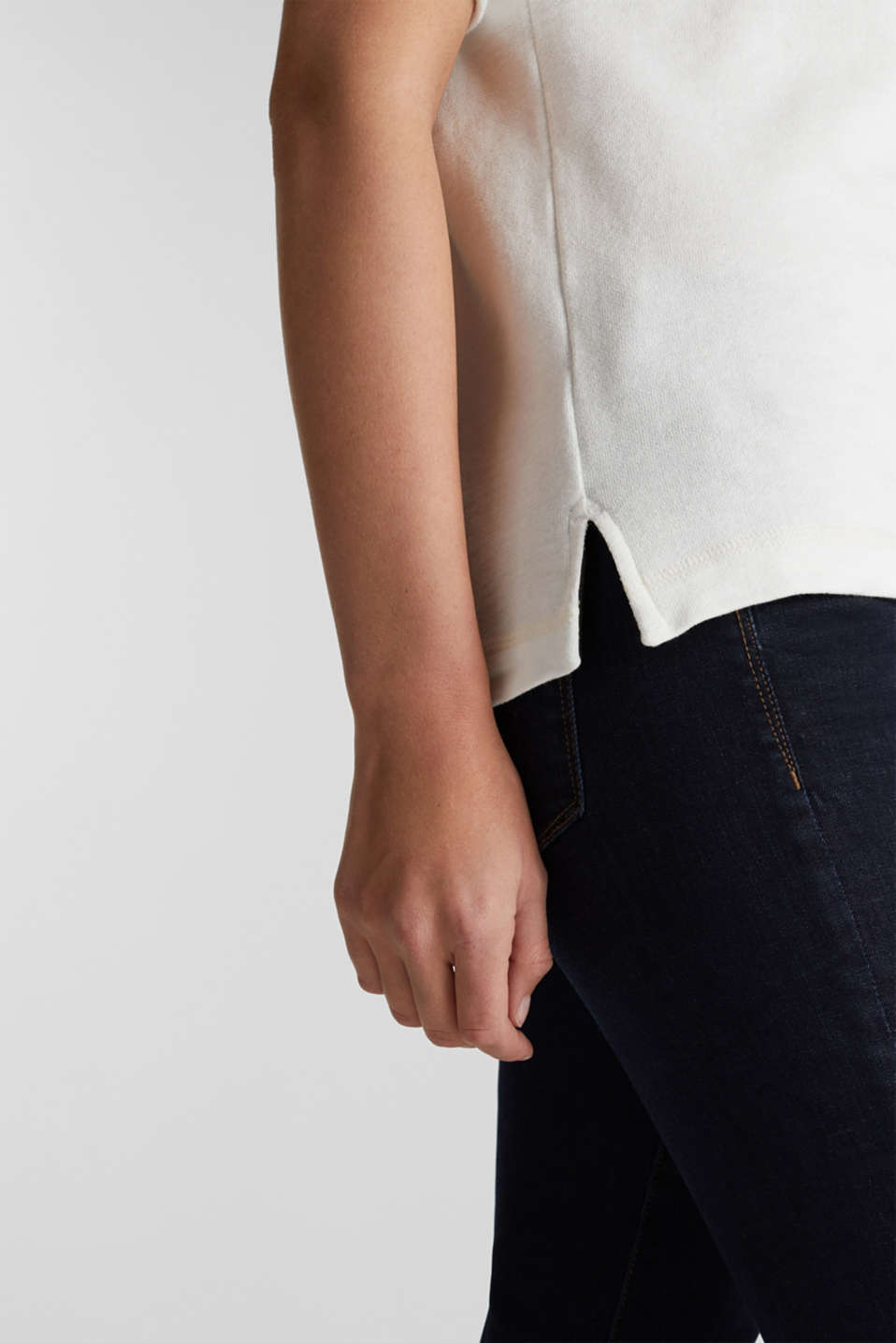 Textured top in blended cotton, OFF WHITE, detail image number 5