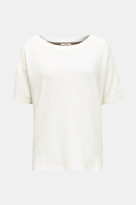 Textured top in blended cotton