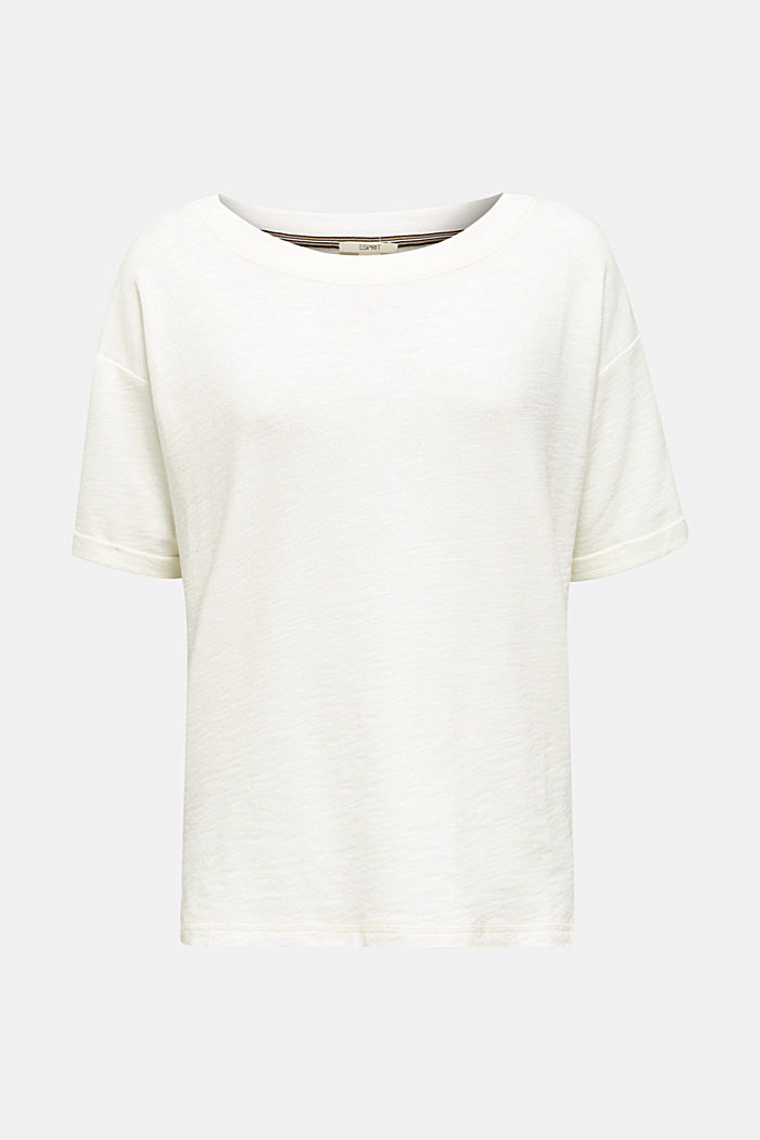 Textured top in blended cotton, OFF WHITE, detail image number 7