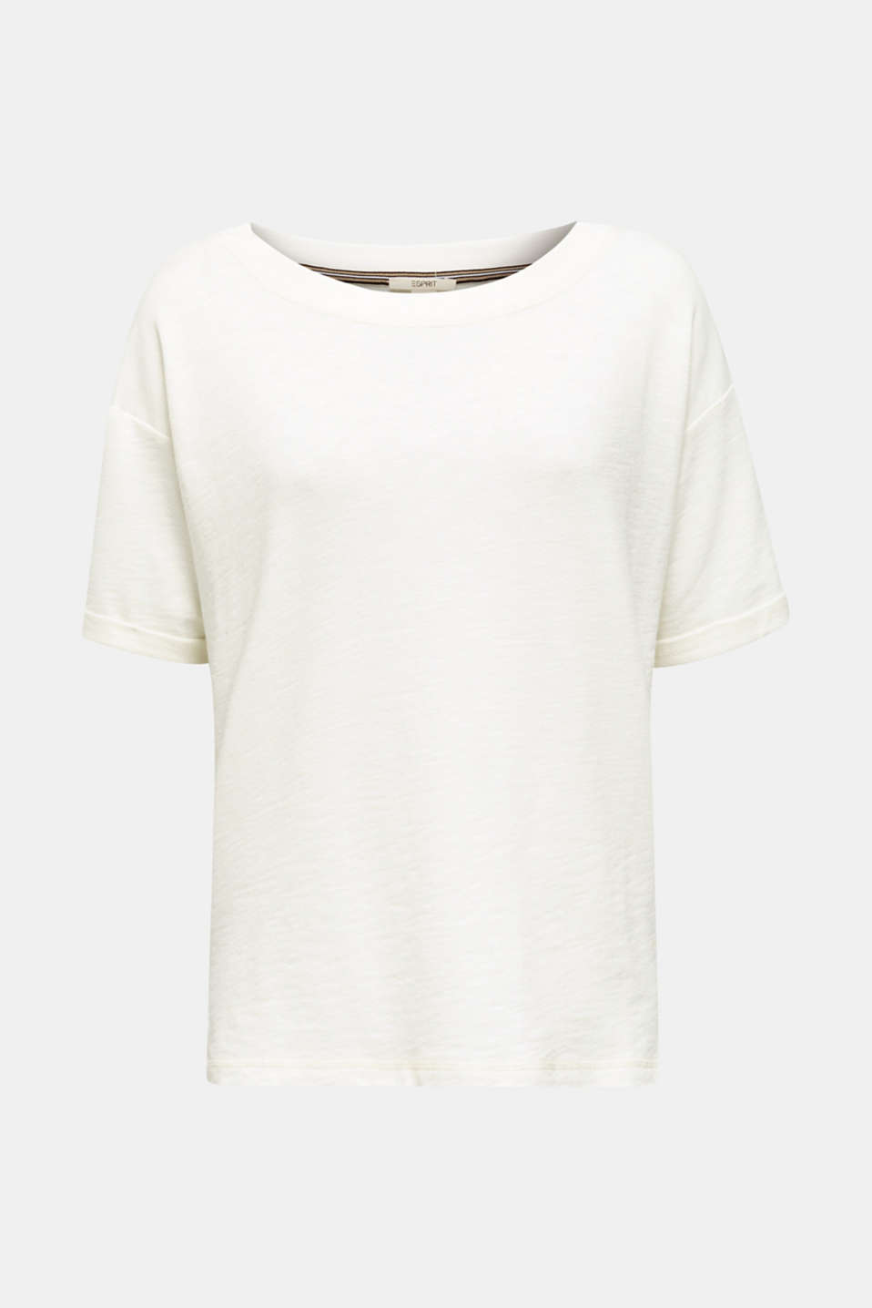Textured top in blended cotton, OFF WHITE, detail image number 6